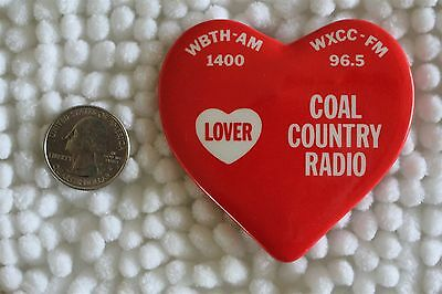 Coal Country Radio Station West Virginia WBTH AM WXCC FM Pin Pinback Button
