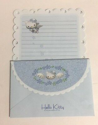 Hello Kitty Angel Blue Stationery Letter Set Partial 7 Sheets 4 Envelopes