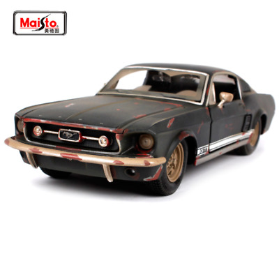 Maisto 1:24 Die Cast Metal Scale Model Black 1967 FORD Mustang GT V8 Weathered