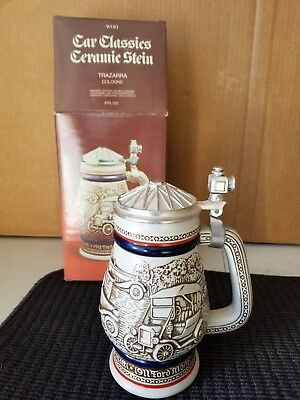 VINTAGE AVON 1979 LIDDED CERAMIC BEER STEIN CAR CLASSICS Handcrafted In Brazil