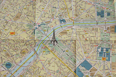 Michelin Plan Of Paris Map Large 1986 France
