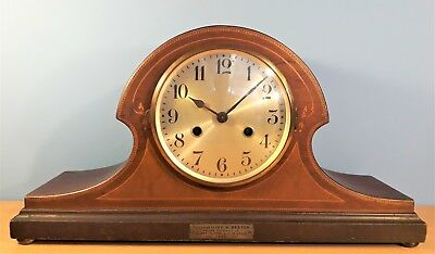 Antique German Inlaid Mantel Clock by D.R.G.M. Good working order 1928 Plaque