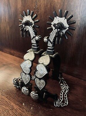 Handmade Silver Inlay Garcia Triple Heart Spurs Single Mounted Maker Marked Nr
