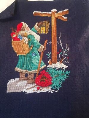 "counted cross stitch unfinished unframed navy blue aida Santa Claus 8""X10"""