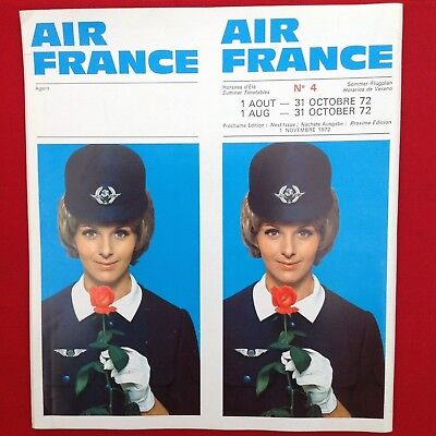 8/1/1972 AIR FRANCE Airlines TIMETABLE Unfolded UNFLODED Good Color VGC