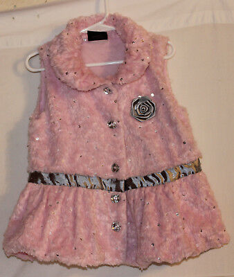 GIRLS RULE! Pink Sweater Vest Fall School Pink & Gray Sparkle and Flower Size 6