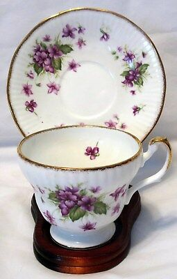 Queen's Rosina Bone China Floral Gold Trim February Violets Tea Cup & Saucer