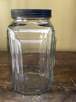 "Vintage Glass 10"" NECCO CANDIES Storage Jar"