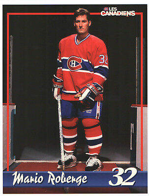 1993-95 Montreal Canadiens LINE-UP CARD NHL HOCKEY vs BRUINS ROBERGE PLAYOFFS
