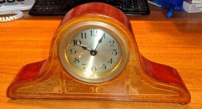 Antique, Mantle Clock, In A Mahogany Veneered String Inlaid Case, Working Order.