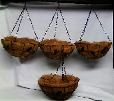 "Vintage Hanging Wire Coconut Basket Planter Flowers Pot 12"" Garden Black"