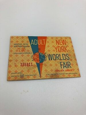 Vintage Adult New York Worlds Fair Ticket Stub 1964-1965