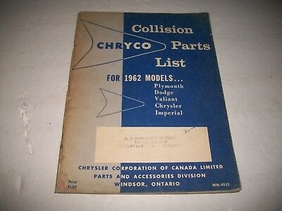 1962 Chryco Collision Parts Catalog All Valiant Plymouth Dodge Chrysler Imperial