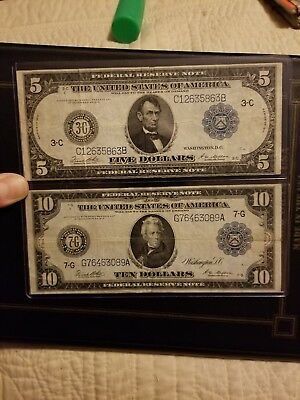 1914 Federal Reserve $5 and $10 very nice problem free currency note