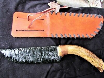 Green Sheen Obsidian Stone & Antler Knife With Leather Belt Holster Free Ship