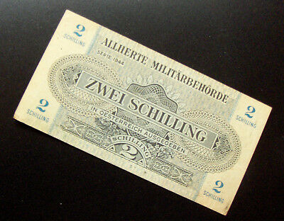 1944 WW2 Allied Military Currency for Austria 2 Shilling Short Snorter signed