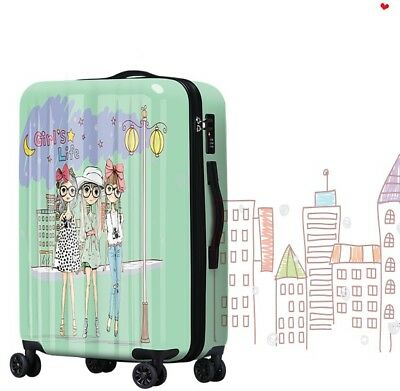 E326 Lock Universal Wheel Green Travel Suitcase Cabin Luggage 20 Inches W