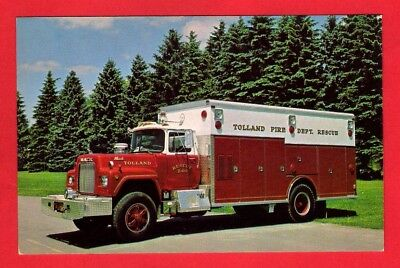 Fire Engine Postcard ~ Tolland CT 240 - 1978 Mack Rescue Truck - Audio Visual NY