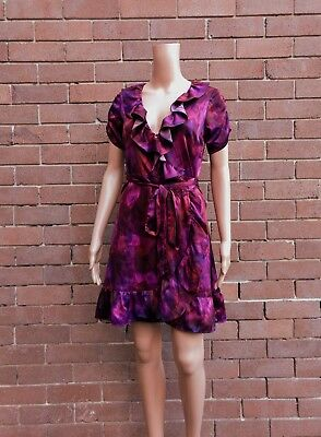 STELLA ~ 8 ~ Multi-Coloured Berry Purple Frilled Belted Wrap Dress ~ RRP $169.00