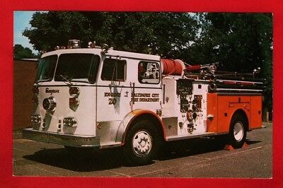 Fire Engine Postcard ~ Baltimore City FD 20 - 1974 Seagrave Pumper - Roberts Co