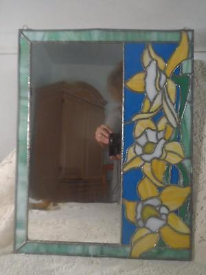 Vintage Large Toledo Electro Plated Stained Slag Glass Framed Wall Art Mirror