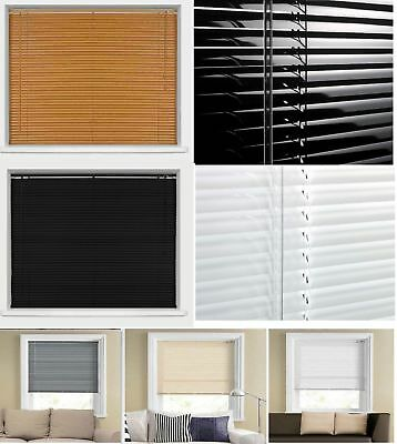 Pvc Window Blinds Venetian Blind Curtains White Black Natural Ivory Grey & Teak