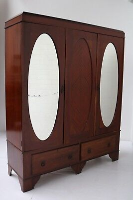 Antique Edwardian Period Double Wardrobe With 2 Oval Mirrored Doors To The Front