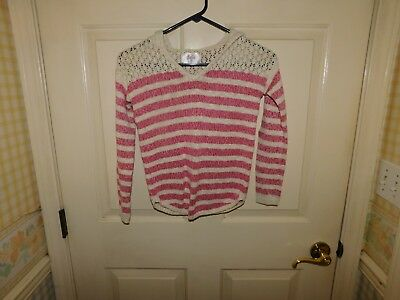 Justice Girl's Long Sleeve Striped Hooded Pullover Sweater Size 10