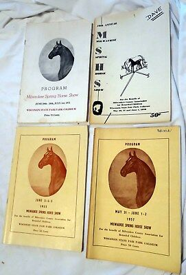 Four 1951, 55, 57, 58 Milwaukee Spring Horse Show in Wisconsin Official Programs