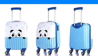 E842 Blue Cartoon Universal Wheel ABS+PC Children Suitcase Luggage 18 Inches W