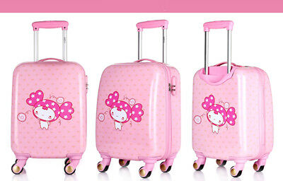 E844 Pink Cartoon Doll Universal Wheel Children Suitcase Luggage 18 Inches W