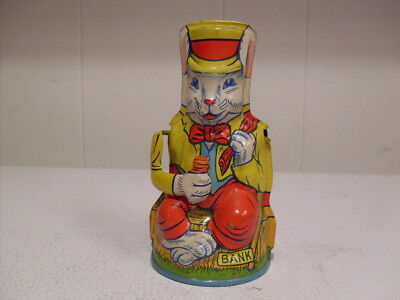 """Rare J.CHEIN & Co. """"UNCLE WIGGILY RABBIT"""" TIN MECHANICAL BANK MADE IN USA"""