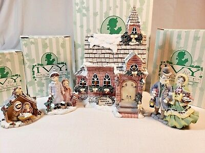 Ivy and Innocence Figurines The Old Ivy Church Collection Set of 4 With Boxes