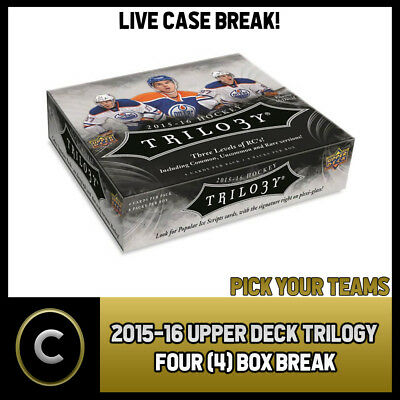 2015-16 Upper Deck Trilogy Hockey 4 Box Case Break #h0185 - Pick Your Team -