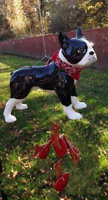 Boston Terrier Wind Chime, Cast Ceramic, Hand-Made, With Treats, & Heart Dangles