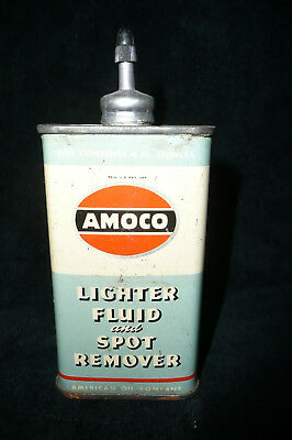 Vintage American Oil Amoco Lighter Fluid Spot Remover Lead Top Tin Oil Can