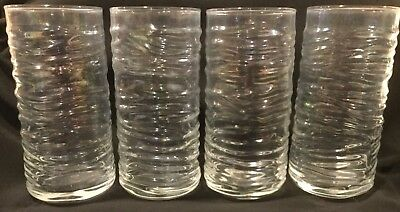 "4 Large Anchor Hocking 6.25"" Clear Iridescent 16 Oz. Drinking Glasses Tumblers"