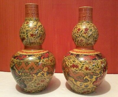 2 LARGE Handmade CHINESE Porcelain DOUBLE GOURD VASES BEAUTIFULLY DECORATED MINT