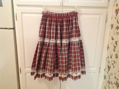 Red Watch Plaid Square Dance Skirt Line Dance Party Costume