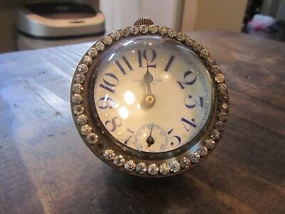 Antique New Haven Ball Clock Crystal Paperweight Porcelain Brass Glass WOW LOOK!