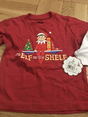 Elf On The Shelf Long Sleeve Christmas Boys Holiday Baby Shirt 12 Months NWT