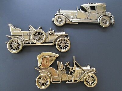 3 Vintage Gold Colored SYROCO Wall Hangings Old ANTIQUE CARS