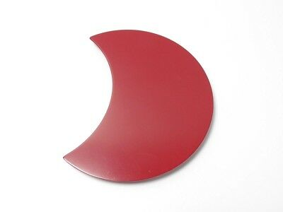 Japanese antique vintage Zohiko red lacquer wood crescent flat plate chacha