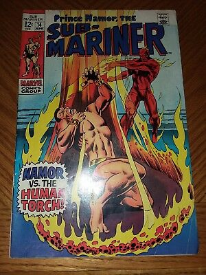 Sub-Mariner #14 VF OFF-WHITE PAGES (Jun 1969, Marvel)