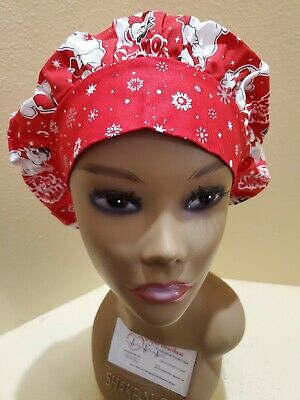 Frosty the Snowman Women's Bouffant Surgical Scrub Hat/Cap Handmade