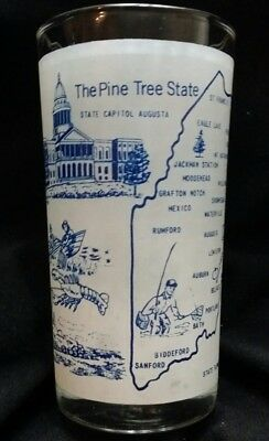 Vintage Drinking glass, souvenir of state of Maine, really nice detail
