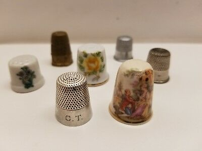 Lot of 7 Vintage Antique Thimbles Sterling Hexagon Studios Japan Metal Porcelain