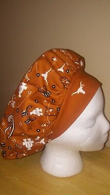 University of Texas Women's Bouffant Surgical Scrub Hat/Cap Handmade