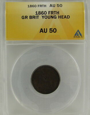 Great Britain 1860 Farthing Young Head Anacs Au50 Ms60 Catalog $200
