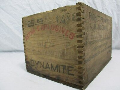 RARE Vintage Antique AETNA Explosives DYNAMITE wood box crate A E CO old decor